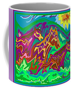 Purple Feathered Horses Coffee Mug