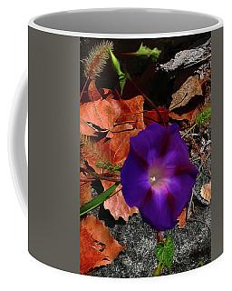 Purple Flower Autumn Leaves Coffee Mug