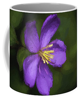 Coffee Mug featuring the photograph Purple Flower Macro Impression by Dan McManus