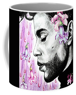 Coffee Mug featuring the mixed media Purple Flower Rain  Prince, Roger Nelson by Heidi Kriel