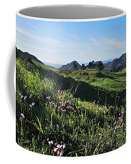 Coffee Mug featuring the photograph Purple Flowers And Green Hills Landscape by Matt Harang