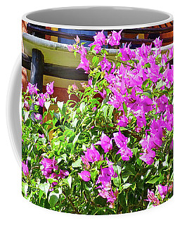 Coffee Mug featuring the photograph Purple Flowers By The Balcony by Francesca Mackenney