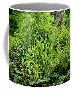 Purple Flowers By The Ponds Edge Coffee Mug