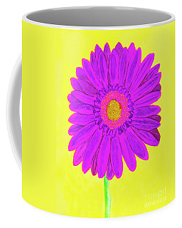Purple  Gerbera On Yellow, Watercolor Coffee Mug