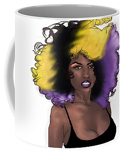 Coffee Mug featuring the digital art Purple Girl by Jayvon Thomas
