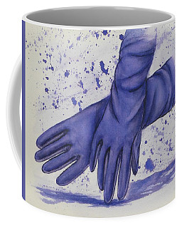 Coffee Mug featuring the painting Purple Gloves by Kelly Mills