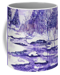Coffee Mug featuring the painting Purple Ice On Kaaterskill Creek by Ellen Levinson