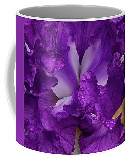Coffee Mug featuring the photograph Purple Iris Close Up by Jean Noren
