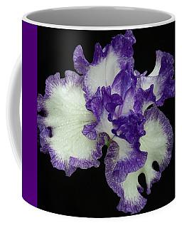 Coffee Mug featuring the photograph Purple Iris Frills by Jean Noren