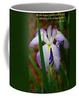 Purple Iris In Morning Dew Coffee Mug