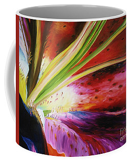 Coffee Mug featuring the painting Purple Lily by Donna Hall