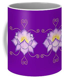 Coffee Mug featuring the mixed media Purple Lotus by Elizabeth Lock