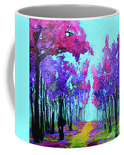 Coffee Mug featuring the painting Purple Magenta, Forest, Modern Impressionist, Palette Knife Painting by Patricia Awapara