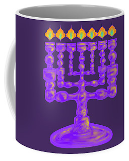 Purple Menorah Flamed Coffee Mug