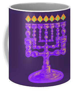 Purple Menorah Flamed Coffee Mug