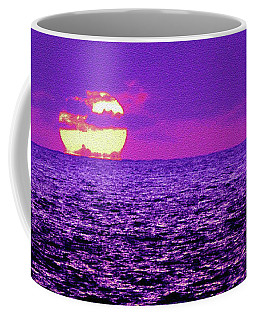 Coffee Mug featuring the digital art Purple Pacific With Sandstone Texture by Howard Bagley