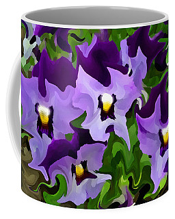 Coffee Mug featuring the digital art Purple Pansy Abstract by Shelli Fitzpatrick