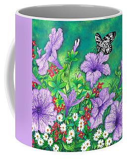 Coffee Mug featuring the painting Purple Petunias by Val Stokes