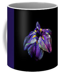 Purple Siberian Iris Flower Neon Abstract Coffee Mug