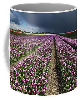 Purple Tulips Field Coffee Mug by Mihaela Pater