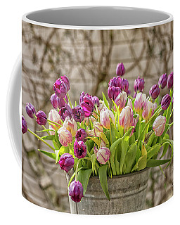 Coffee Mug featuring the photograph Purple Tulips In A Bucket by Patricia Hofmeester