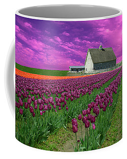 Purple Tulips With Pink Sky Coffee Mug