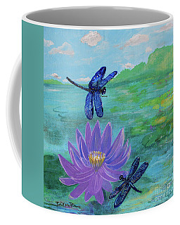 Purple Water Lily And Dragonflies Coffee Mug