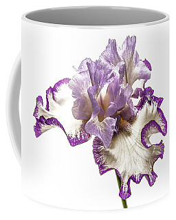 Coffee Mug featuring the photograph Purple White Iris by Scott Cordell