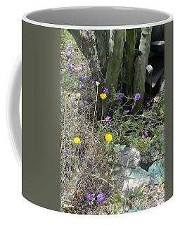 Purple Yellow Flowers Green Cactus Coffee Mug