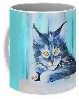 Coffee Mug featuring the painting Pussy Cat by Jutta Maria Pusl