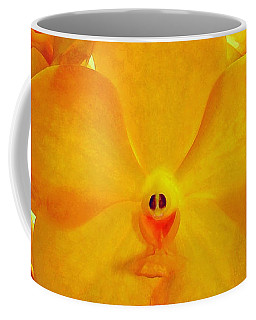 Put On A Happy Face Yellow Orchids Coffee Mug