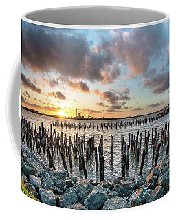 Coffee Mug featuring the photograph Pylons Mill Sunset by Greg Nyquist