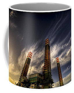 Coffee Mug featuring the photograph Pylons by Wayne Sherriff