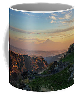 Qasakh Gorge And Ararat Mountain At Golden Hour Coffee Mug
