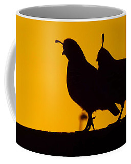 Quail At Sunset Coffee Mug by Judi Saunders