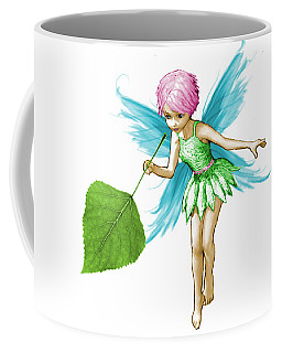 Quaking Aspen Tree Fairy Holding Leaf Coffee Mug