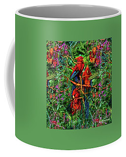 Coffee Mug featuring the digital art Qualia's Parrots by Russell Kightley