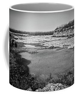 Coffee Mug featuring the photograph Castalia Quarry Reserve Bw by Shawna Rowe
