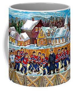 Quebec Village Country Scene Hockey Rink Painting Montreal Canadiens Rink Hockey Game C Spandau Art  Coffee Mug