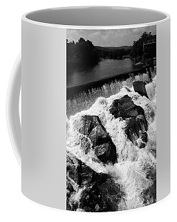 Coffee Mug featuring the photograph Quechee, Vermont - Falls 2 Bw by Frank Romeo