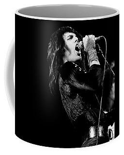 Coffee Mug featuring the photograph Queen - Freddie Mercury 1974 by Chris Walter