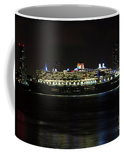Queen Mary 2 At Night In Liverpool Coffee Mug