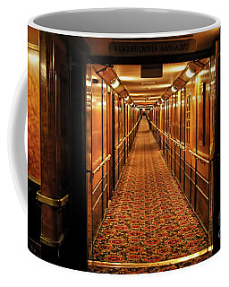 Coffee Mug featuring the photograph Queen Mary Hallway by Mariola Bitner