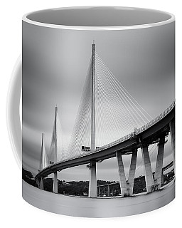 Coffee Mug featuring the photograph Queensferry Crossing Bridge Mono 1 by Grant Glendinning