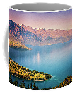 Coffee Mug featuring the photograph Queenstown New Zealand From Above Painterly by Joan Carroll