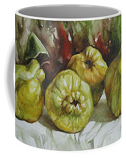 Coffee Mug featuring the painting Quinces by Elena Oleniuc