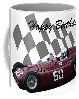 Coffee Mug featuring the photograph Racing Car Birthday Card 1 by John Colley