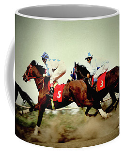 Racing Horses Neck To Neck In Competition Coffee Mug