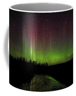 Red And Green Aurora Pillars Coffee Mug