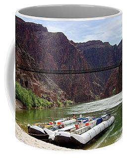 Rafts With Black Bridge In The Distance Coffee Mug